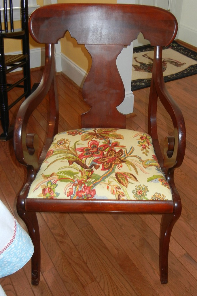 Antique Mahogany Chair With Covered Seat